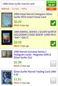 Using checkboxes to choose comps and get value of Marvel cards