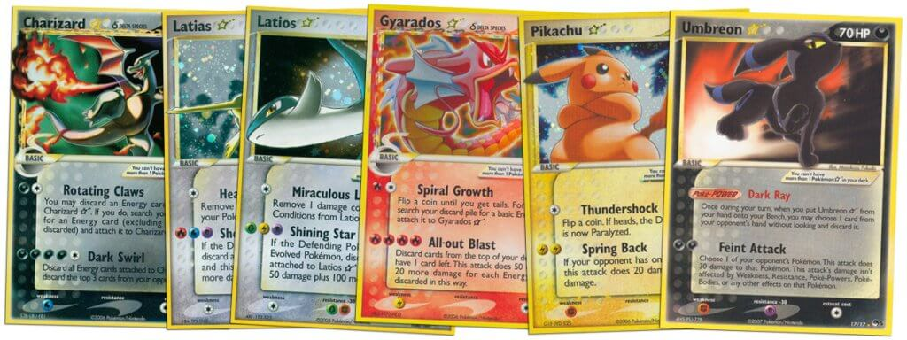 Valuable Pokemon Gold Star holo cards
