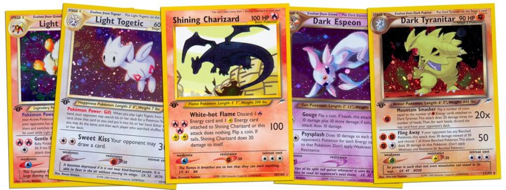Valuable cards from the Pokemon Neo Destiny set