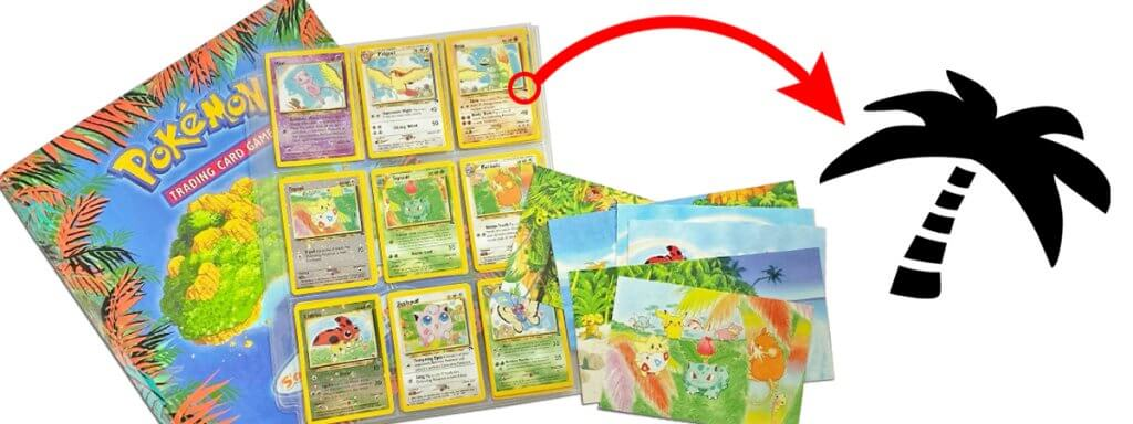 Pokemon Southern Islands binder, postcards, Pokemon cards, and set symbol