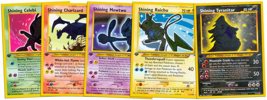 Shining Pokemon cards from the Neo Destiny set