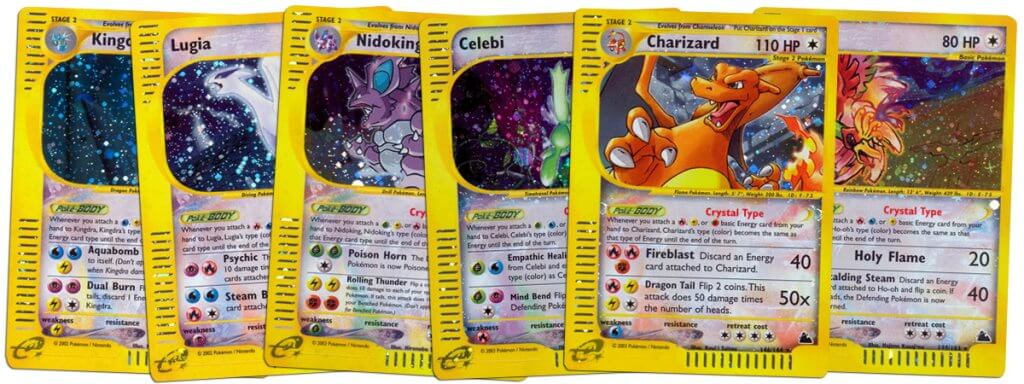 Crystal Type Pokemon cards from Aquapolis and Skyridge sets