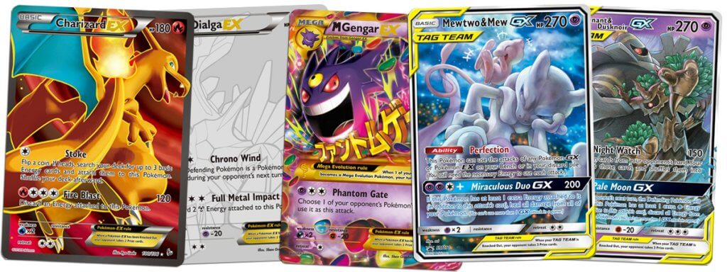 Full Art EX and Full Art GX Pokemon cards
