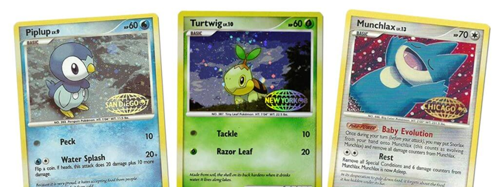 All three Pokemon distributor meeting cards: Piplup, Turtwig, and Munchlax